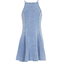 River Island Girls washed blue fit and flare dress