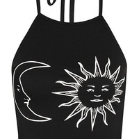 Sun and Moon Printed Halter Top
