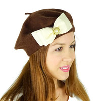 Brown French Beret Hat with Big Ivory Bow Women's Accessories Brown Earwarmers Brown Beret Hat Cold Weather Hat Brown Hat Knit Wool Hat Chic