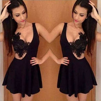 Hollow Out Mini Dress [7279393863]