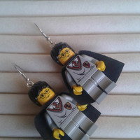 Harry Potter  cape   dangle earrings made with LEGO®  Harry Potter minifigure