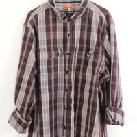 Faded Purple, Gray, and Lavender Plaid Sunwashed Flannel Shirt Size XL - Cuff N Roll