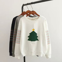 Christmas Tree Embroidered Sweater