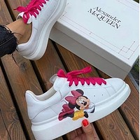 Alexander McQueen x Disney platform low-top sports white shoes