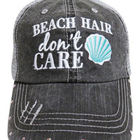 """Embroidered """"Beach Hair Don't Care"""" Grey Trucker Baseball Cap W/AB Crystals (Mint Shell)"""