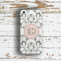 Floral Iphone 6 case, Damask Iphone 5 case, Womens Iphone 5c case, Elegant iPhone 4 case, Summer to fall fashion, Gray light pink (1416P)