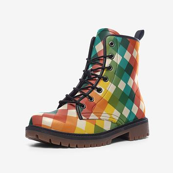 Leather Boots, Multi Square Color Block Martin Style Boots