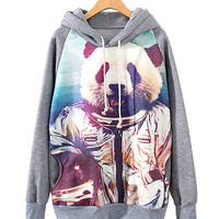 Grey Armed Panda Print Grey Hooded Jacket