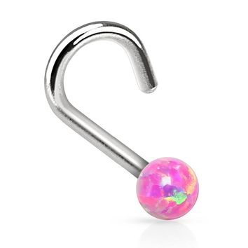 Nose Ring Screw Stud Pink Opal Stone Surgical Steel 20G Body Piercing Jewelry