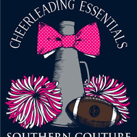 Southern Couture Cheer Cheerleading Essentials Football Bow Pom Poms Bow Girlie Bright T Shirt