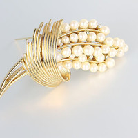 Crown Trifari Pearl Brooch, Lily of the Valley, Rhinestone Accents
