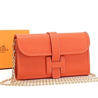 Hermes Women Fashion Leather Envelope Crossbody