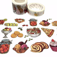 Party food Washi tape 7M x 3cm cake roll macaron cupcake pizza cookie sushi salad yummy picnic Food masking tape party food planner sticker