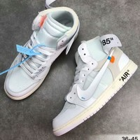 NIKE AIR JORDAN & OFF-WHITE Joint Series High Top Basketball Shoes F-CSXY white