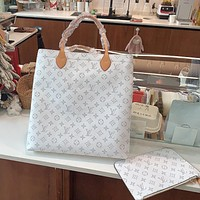 LV full printed letter logo canvas shopping bag beach child and mother bag two-piece set