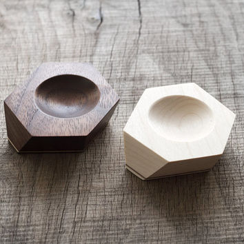 His and her ring dish made from maple or walnut wood with stripe