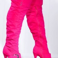 Fuchsia Smooth Faux Suede Buckle Strap Over The Knee Platform Boots @ Amiclubwear Boots Catalog:women's winter boots,leather thigh high boots,black platform knee high boots,over the knee boots,Go Go boots,cowgirl boots,gladiator boots,womens dress boots,s