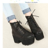 Rock Thick Sole Chunky Heels Platform Lace Up Combat Riding Knight Ankle Boots