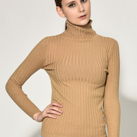 Turtle Neck Long Sleeve Knitted Wool Sweater