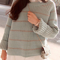 Striped Long Sleeve Short Loose Knitted Sweater