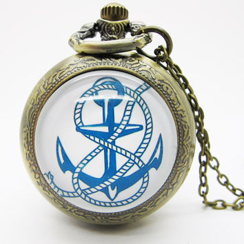 Vintage Glass Pocket Watch Necklace / Anchors  Pocket Watch Necklace  - Buy 3 Get 4th One Free PW109