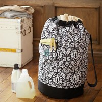 Black Damask Laundry Backpack
