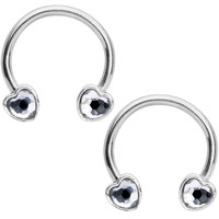 "14 Gauge 9/16"" Clear Gem Heart Horseshoe Nipple Ring Set"