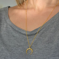 Double Horn Necklace | Gold Tusk Pendant | Crescent Half Moon Jewellery