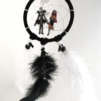 Disney Nightmare before Christmas dream catcher-small, with Jack Skellington and Sally