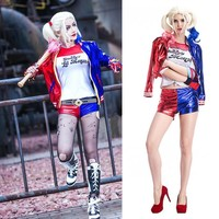 New Women Girls Harley Quinn T-shirts Top Jacket With Wig Costume Suicide Squad cosplay Christmas New Year Halloween Costumes