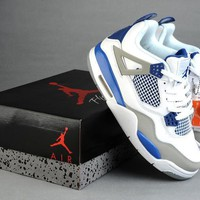 Air Jordan 4 Retro AJ4 308497-027 Gray/White/Blue Basketball Sneaker Size US 5.5-12