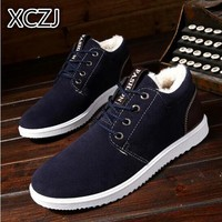 XCZJ Plus thickening autumn winter outdoor leisure men boots warm tooling cotton shoes England boots men's shoes snow boots  A89