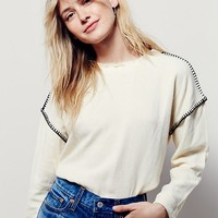 Free People Blanket Stitch Linen Top