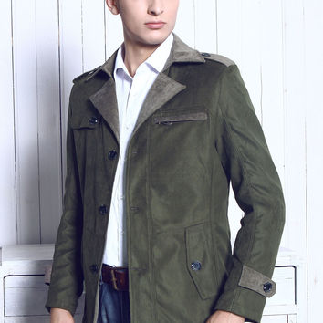 Army Green Casual Slim Fit British Style Wind Coat Jacket