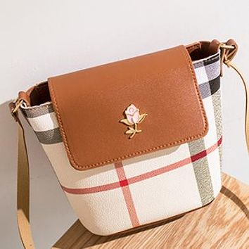 New fashion plaid leather crossbody bag shoulder bag bucket bag Brown