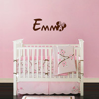 kik140 Wall Decal Sticker name cot children's bedroom baby girl