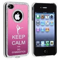Apple iPhone 4 4S 4G Pink S1635 Rhinestone Crystal Bling Aluminum Plated Hard Case Cover Keep Calm and Do Gymnastics