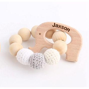 Engraved Personalized Elephant Montessori Wooden Teether Rattle Organic Wood Teething Ring Gift for Baby Shower