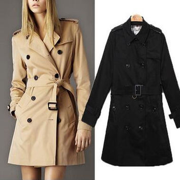 Hot 2016 Classic British Trench Coat For Women Female Belted Double Breasted Fashion Slim Fit Turn-down Collar Women's Coat