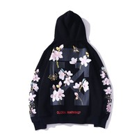 OFF- WHITE Autumn and winter simple casual honey peach print loose hooded sweater
