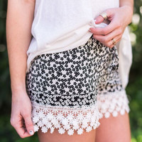 Crochet Hem Floral Smocked Shorts