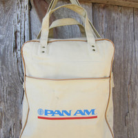 60s Pan Am Airline Canvas Carry-on Bag // // Vintage Tan Handbag
