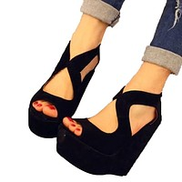 Summer New Nightclub Woman Shoes Sexy European Open Toe High Heels Ladies Platform Wedge Shoes Size 35-39