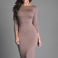 Can't Help It Dress Taupe