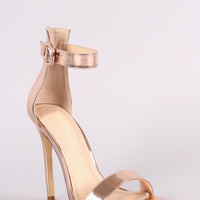 Liliana Metallic Ankle Strap Open Toe Stiletto Heel
