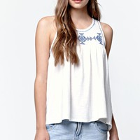 Volcom Side Note Embroidered Tank Top - Womens Tees - White