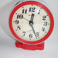 Jantar Soviet Desk Clock, Old Russian Alarm Clock, Vintage Soviet Union Home Decor, Office Decor Clock Red Gray Fully working Made in Russia