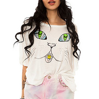 Unif Top Here Kitty Tee in White
