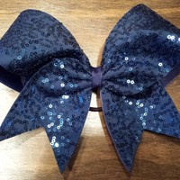 Navy sequins cheer bow.