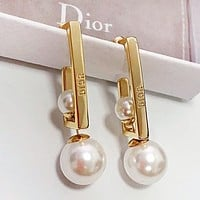 DIOR Women Personality Pearl Earrings Jewelry Accessories
